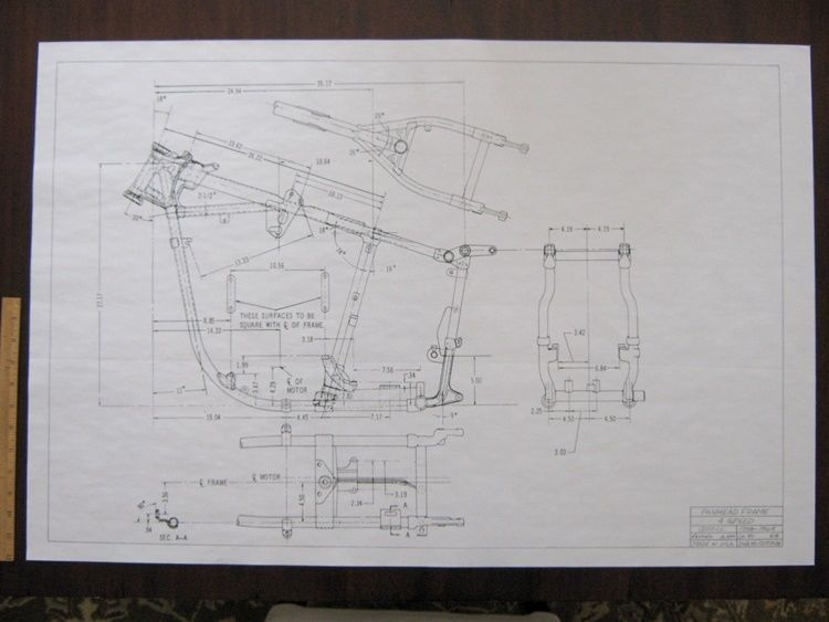 HARLEY DAVIDSON Pan Head 1958-64 Frame Blueprint Drawing poster - copy blueprint paper free
