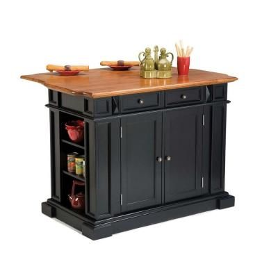 Home Styles Americana Black Kitchen Island With Drop Leaf ...