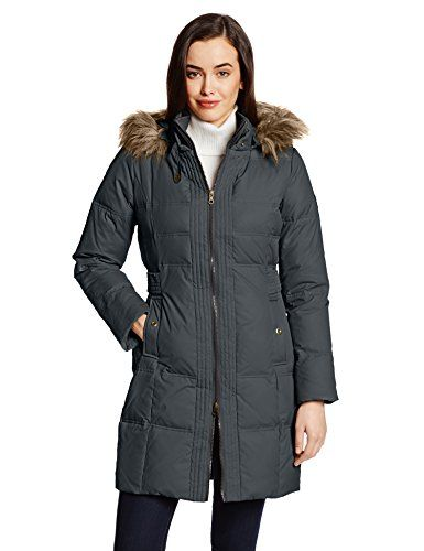Larry Levine Women's Flattering Long Down Filled Coat with Faux ...
