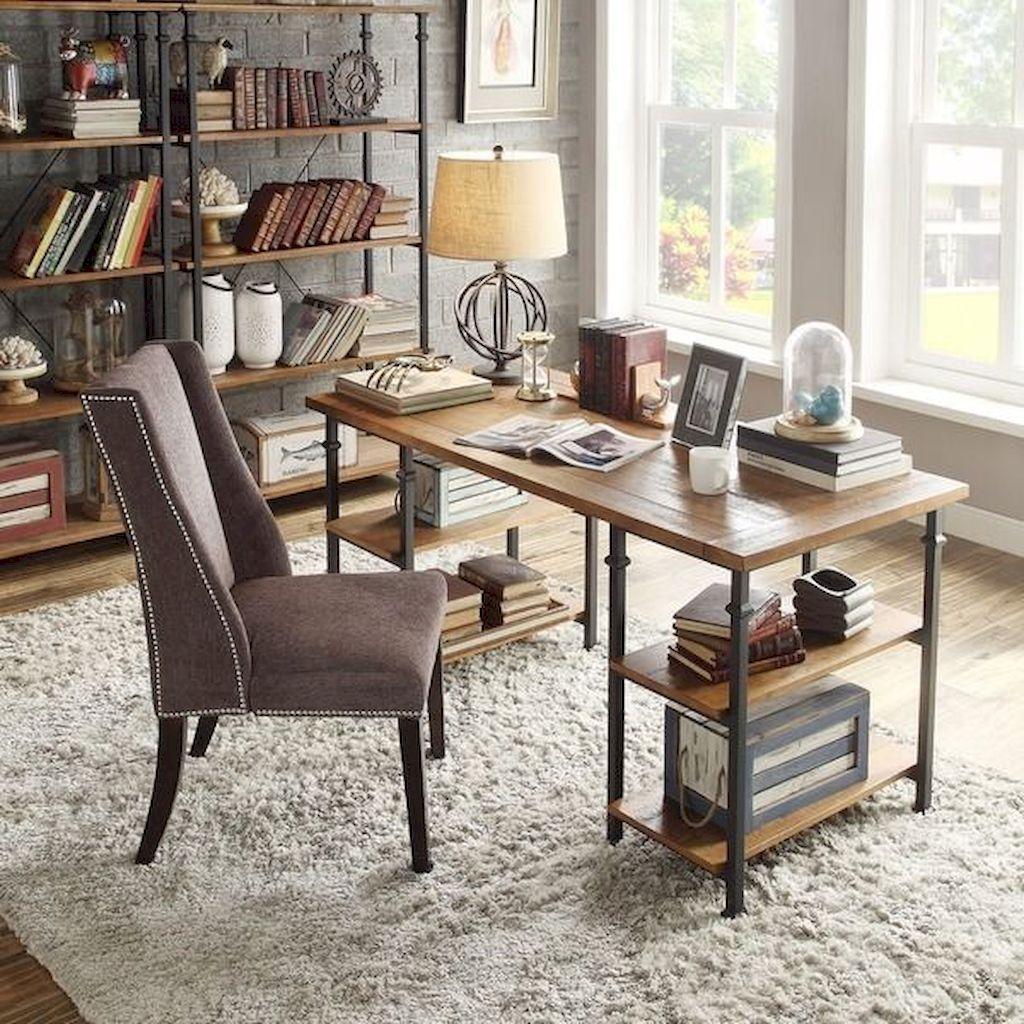 45 Amazing Rustic Home Office Furniture Ideas #apartment