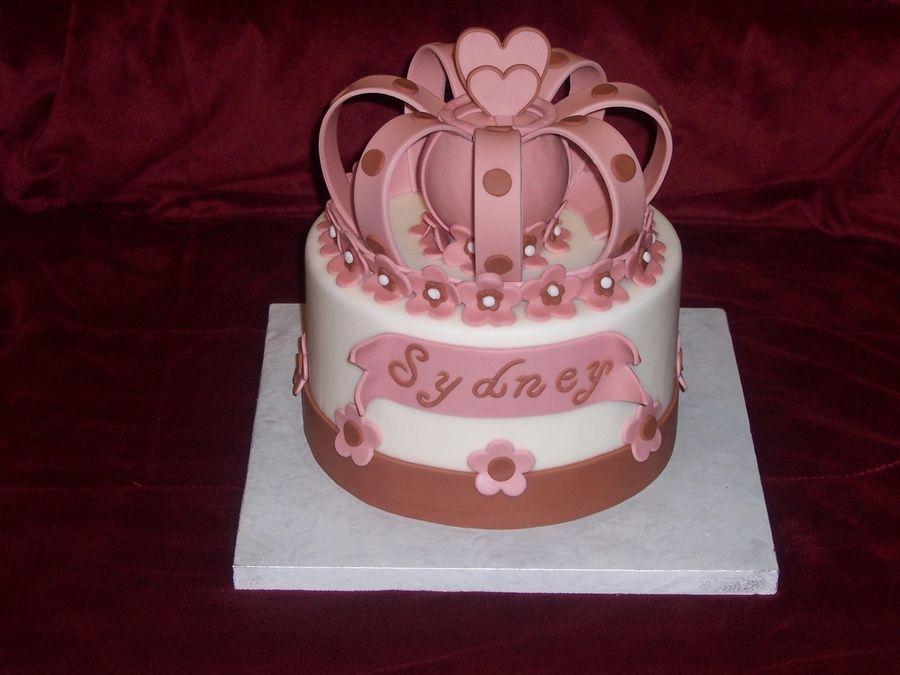 Red Velvet Cake For Royal Princess Theme Baby Shower. Fondant Crown