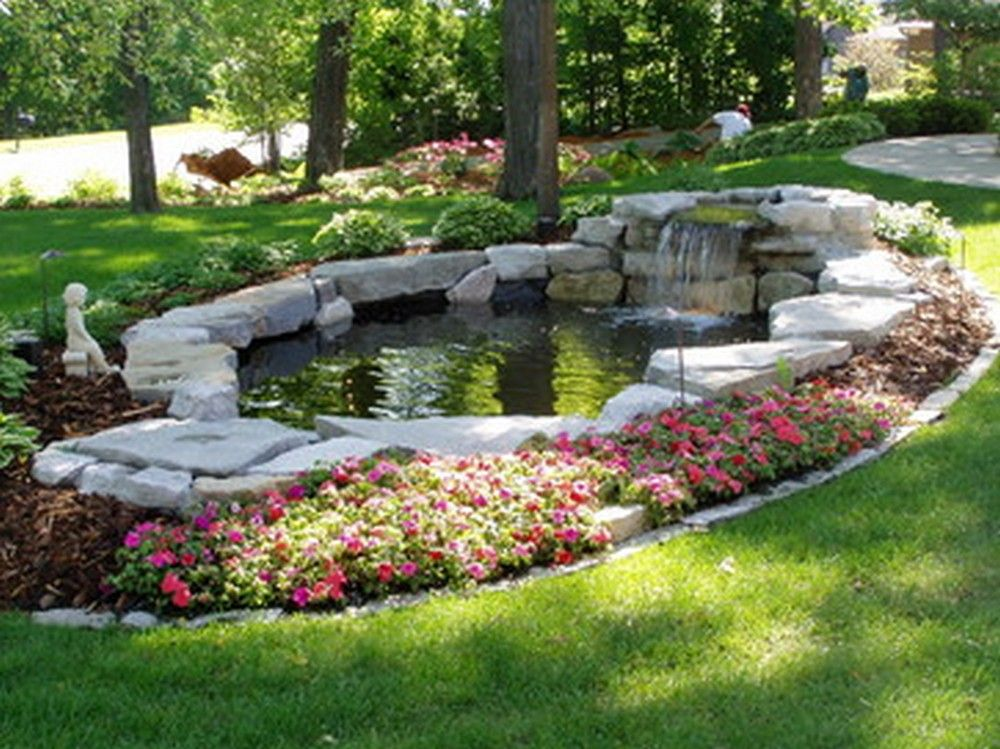 30 diy garden pond waterfall for your back yard pond for Pond landscape
