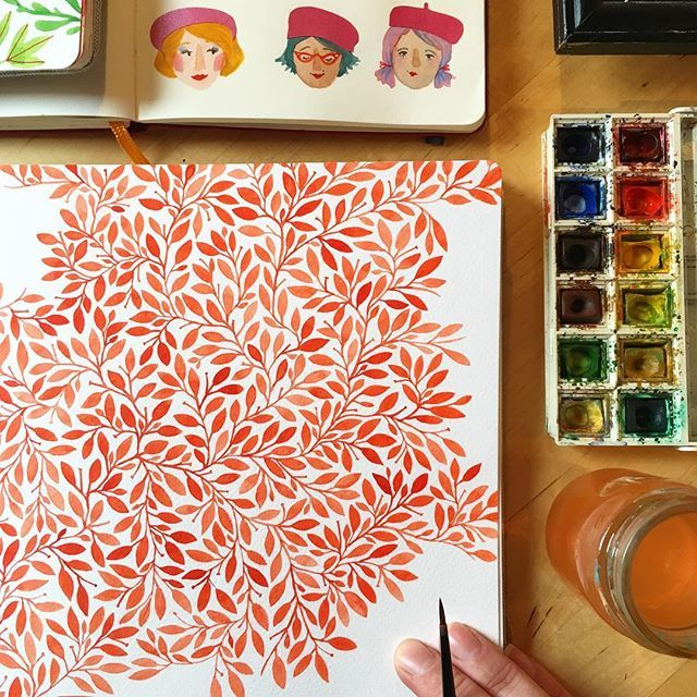 Working on a watercolor leaf pattern in the first page of my new square hand•book watercolor journal! Happy Sunday! ❤️ #pattern #redorange #watercolor #handbookwatercolorjournal #painting #leavesandberries #illustratorinminneapolis #makingitupasigo