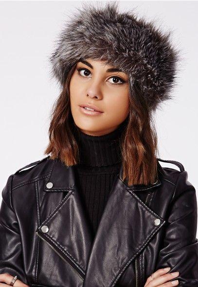 Reymonda Faux Fur Headband Grey -  MissguidedAW14  8260b2ffda5