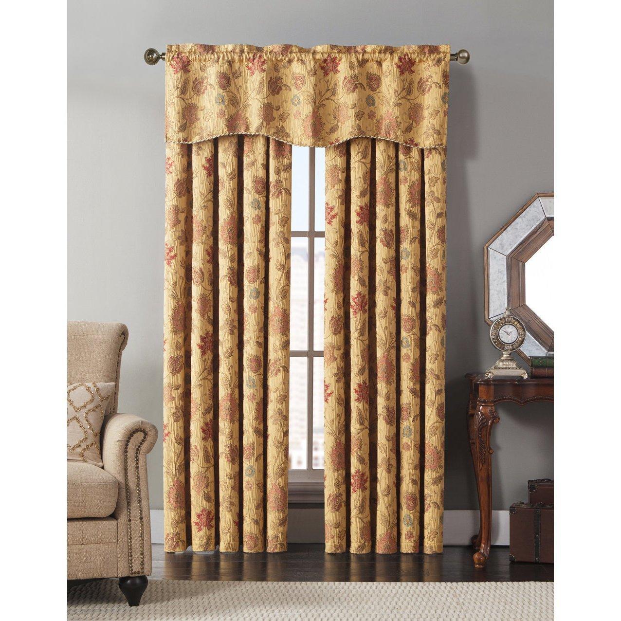 Garden window coverings  girls golden yellow jewel floral window curtain  inch single panel