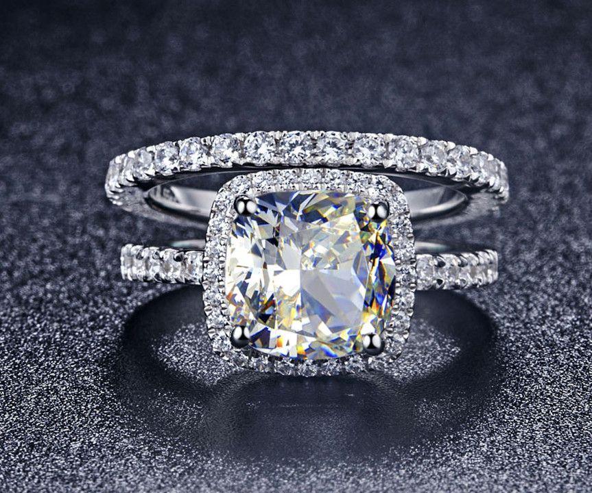 Luxury Quality Synthetic Diamond 3 Carat Cushion Cut Engagement Wedding Ring Set For WomenBridal