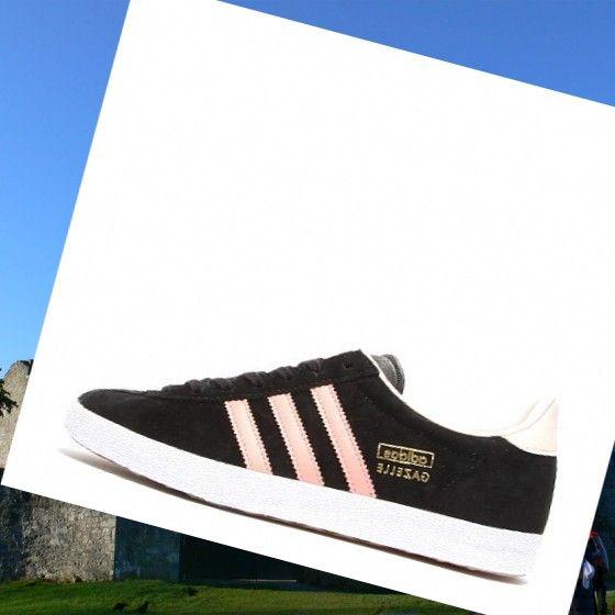 le adidas gazzella og formatori nero / bianco / rosa, stile moderno