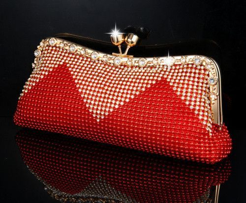 Hasp Open Style Beaded With Rhinestone High Quality Women Evening Bags