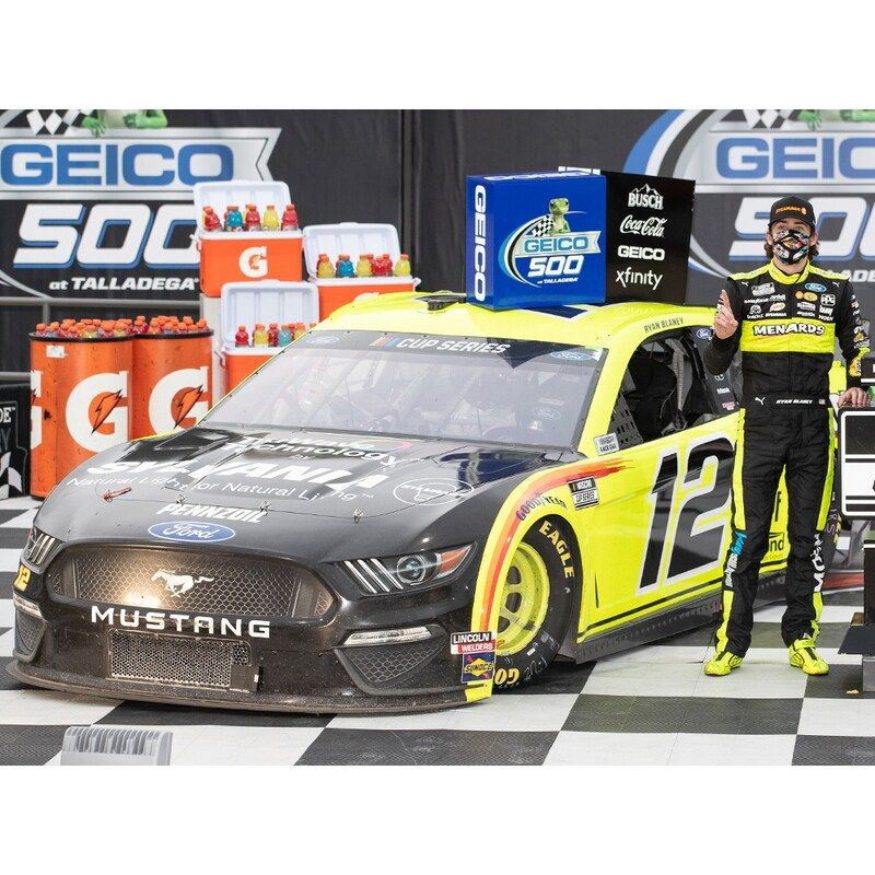 Celebrate a sweet Ryan Blaney victory by grabbing this 2020 GEICO 500 Race Winner 1:24 Elite Die-Cast Car. This Action Racing car is perfect for an avid NASCAR fan like you. Crisp graphics will have you ready to put the pedal to the metal every time you see this awesome Ryan Blaney piece in your fan cave.