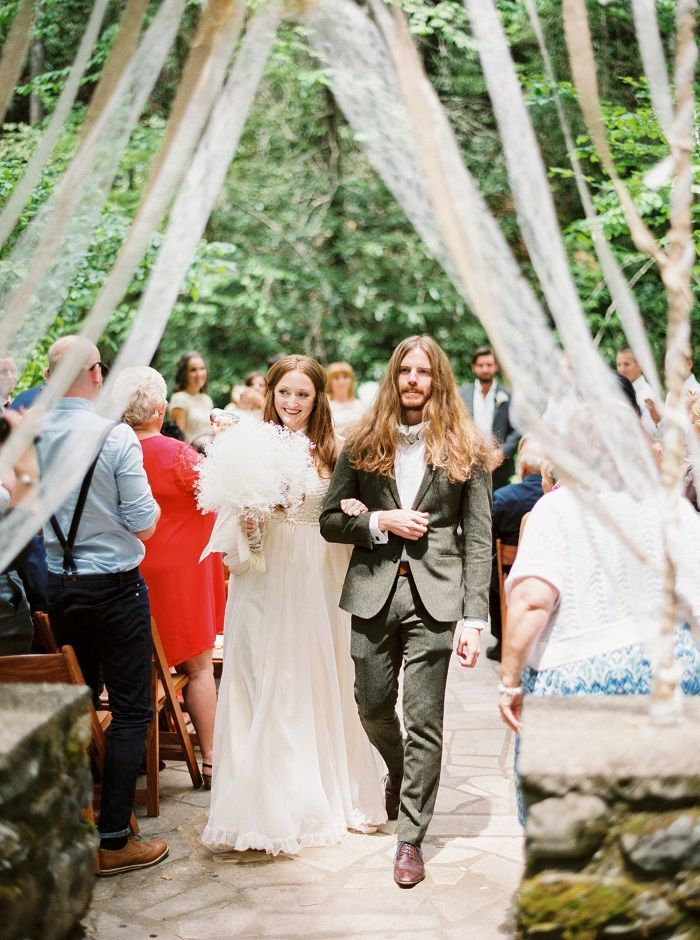 A Bride In Vintage 70s Wedding Gown and the groom - Newly wed | fabmood.com