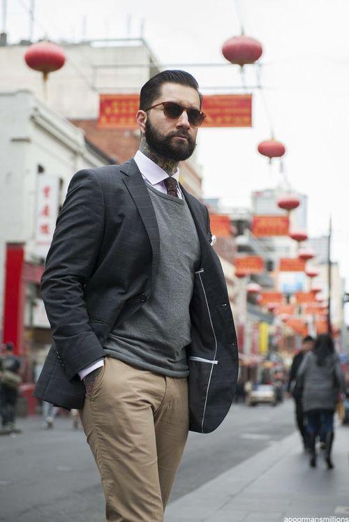 look: jacket   shirt   grey sweater   khaki pants   My Wardrobe ...