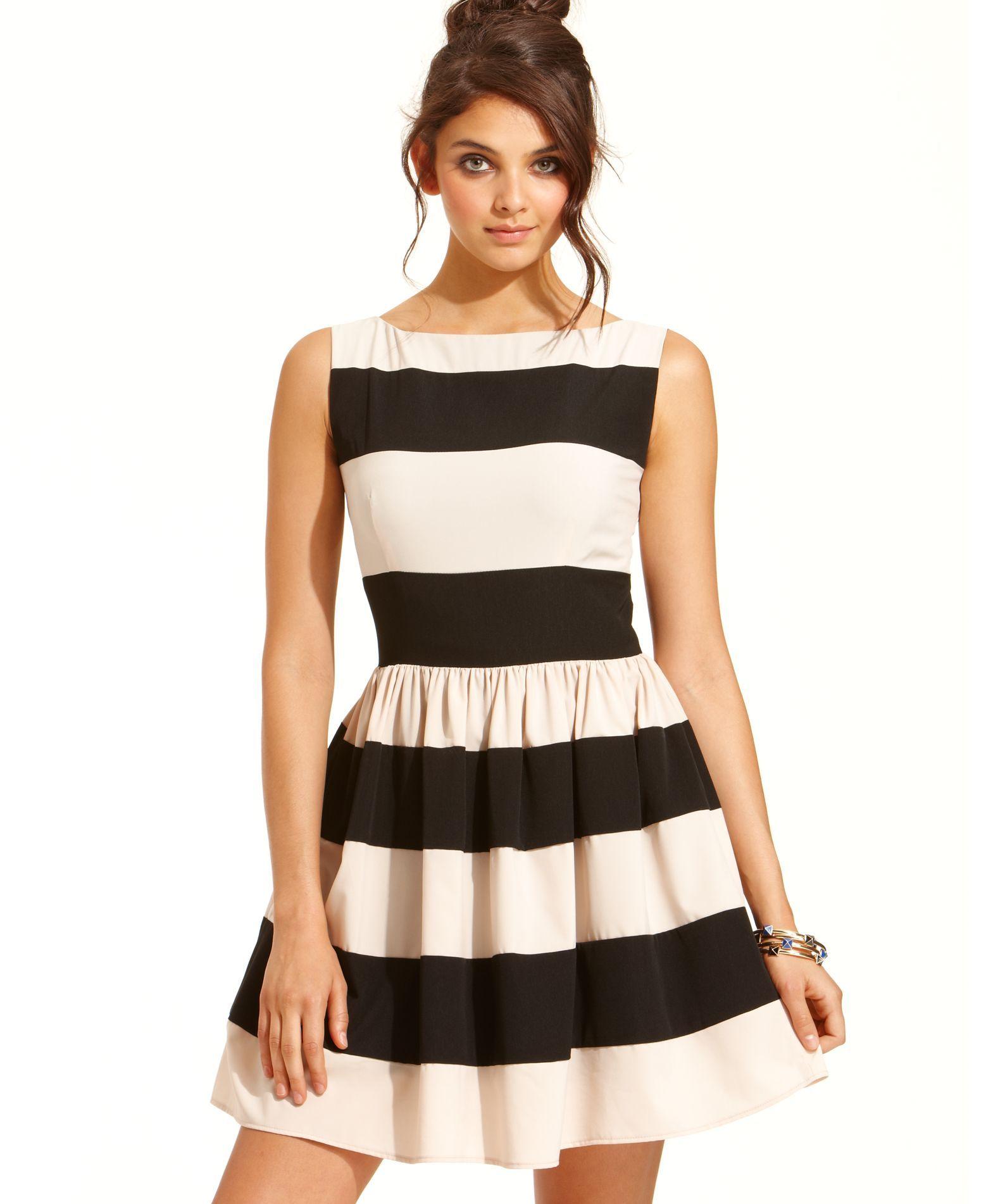 B darlin juniors dress sleeveless striped aline fit n