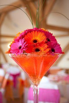 fuscia orange centerpieces pink peach coral red wedding rh pinterest com
