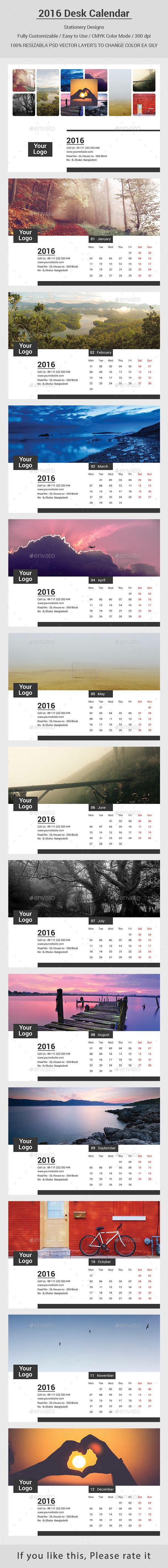 2016 Desk Calendar Design   Diseño de calendario, Diseño de ...