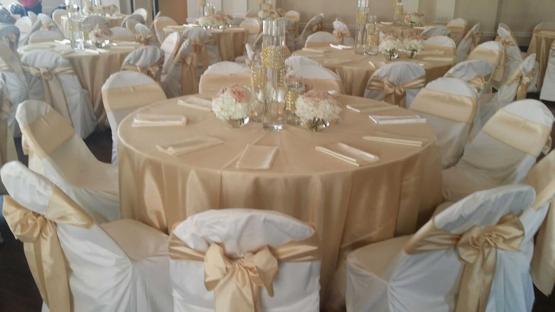 ivory chair covers with gold sash glass dining room table and chairs soft shantung tablecloths sashes