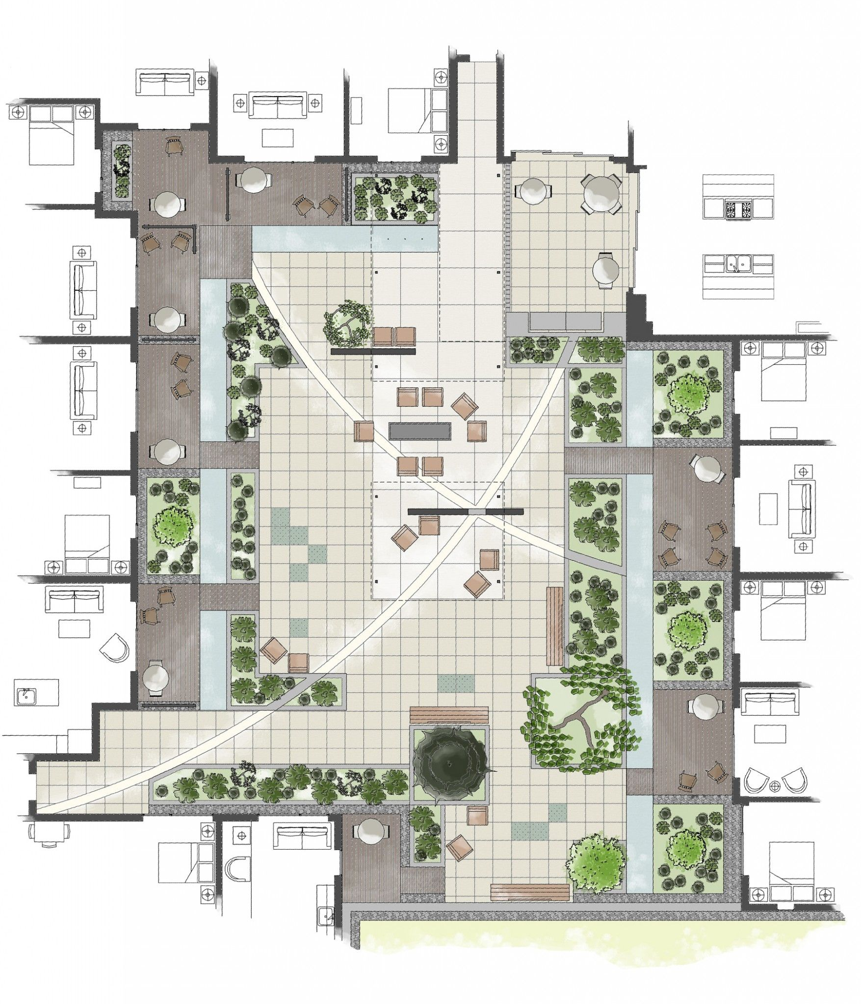 Intensive Residential Green Roof: Rendered Roof Garden ...