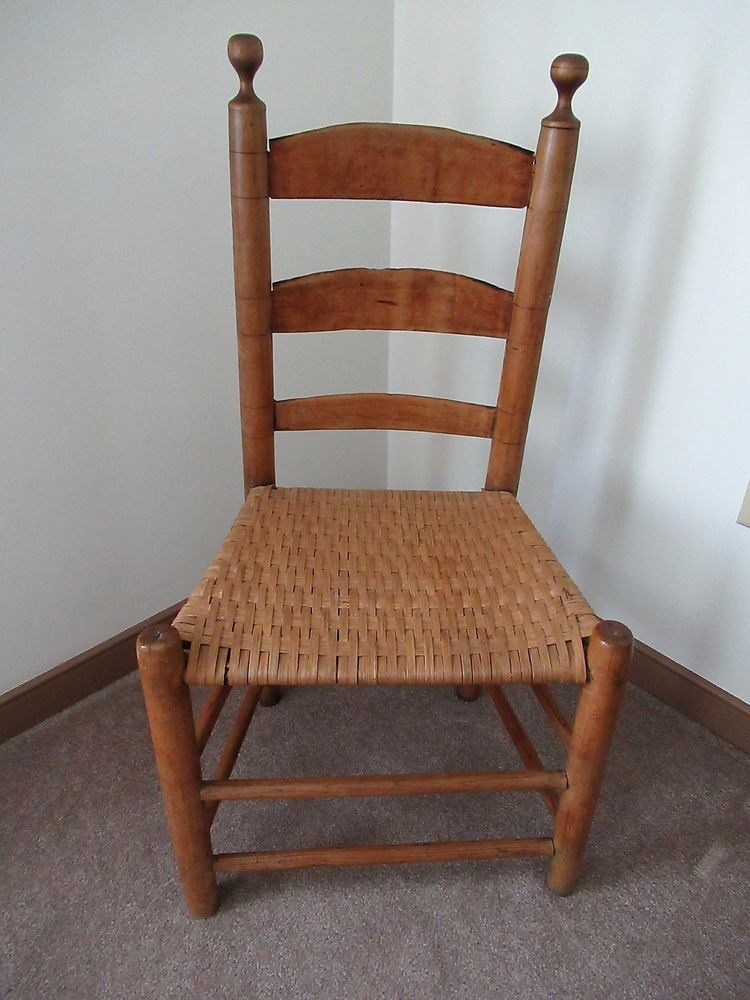 antique chair side handcrafted maple wood primitive country rh pinterest com