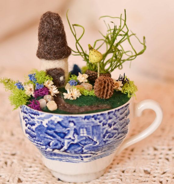 Sale Vintage Liberty Blue Teacup Needle Felted Miniature Etsy English Cottage Garden Liberty Blue Teacup Gardens
