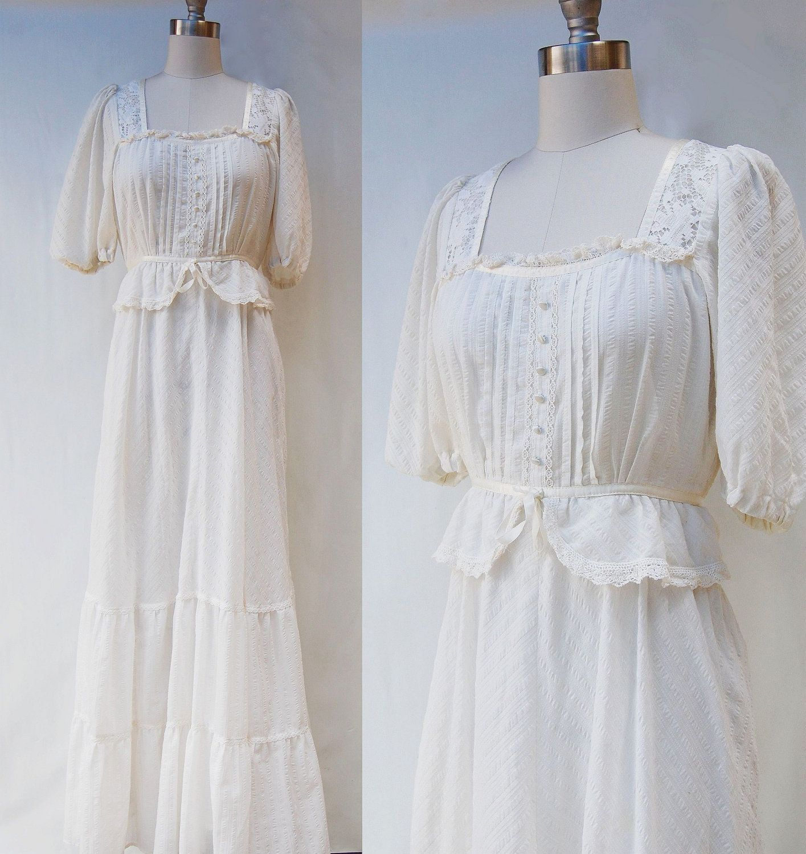S white victorian style long wedding dress xs via etsy