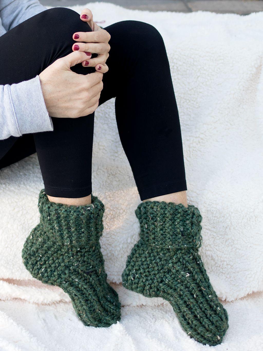 Flat Knit Slippers Knitting Pattern - Gina Michele