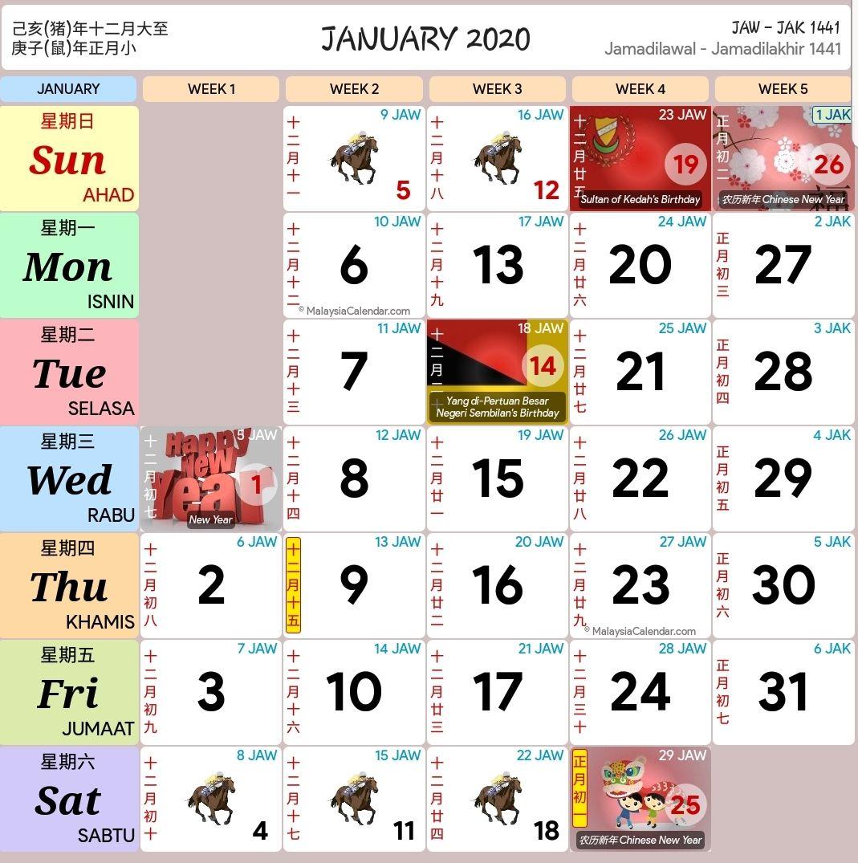 Kalendar Kuda Tahun 2020 Versi Pdf Dan Jpeg Sekolah Hari Buruh Kalender