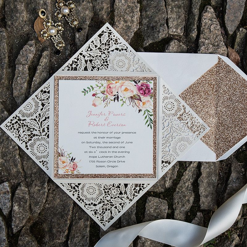 brown card for wedding invites%0A bohemian rustic spring flower glittery rose gold laser cut invitations  EWWS