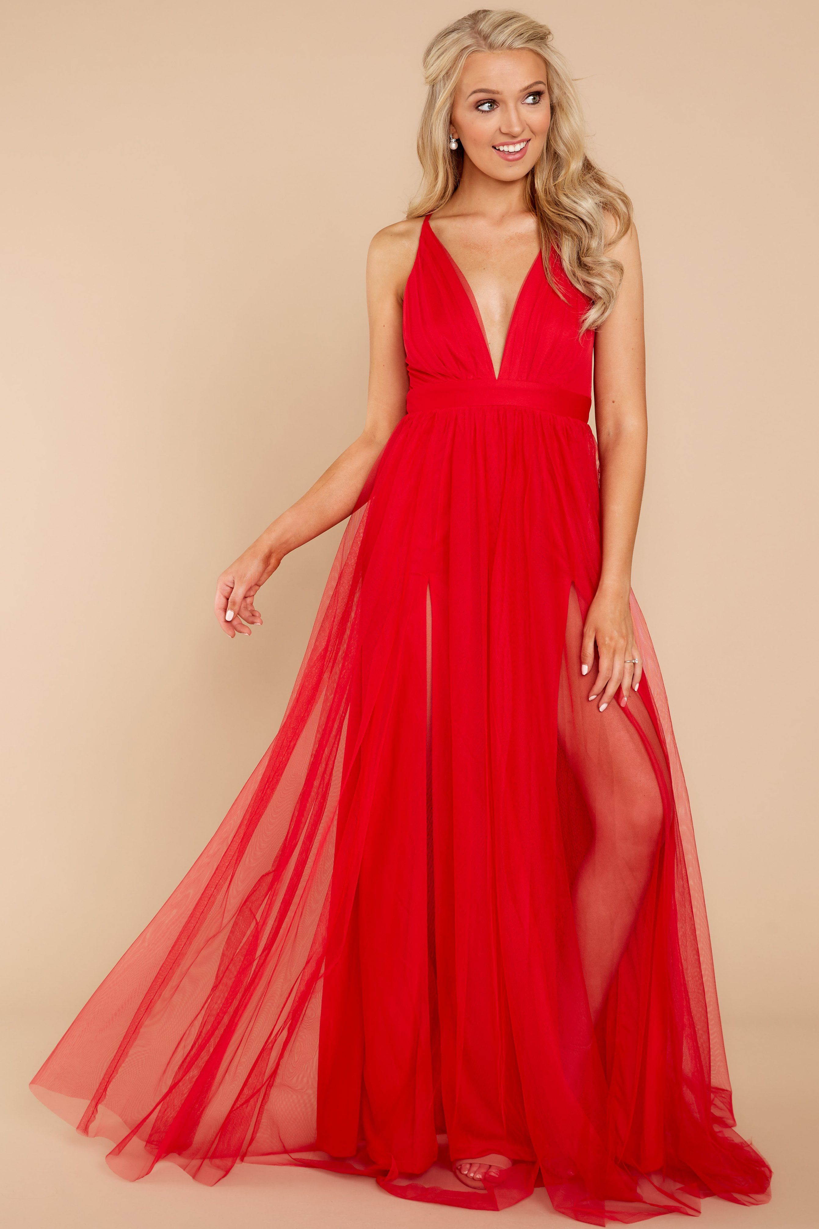 f6c2eb6a9e Elegant Red Tulle Maxi Gown - Flowy Formal Maxi Dress - Dress - $66.00 – Red  Dress Boutique