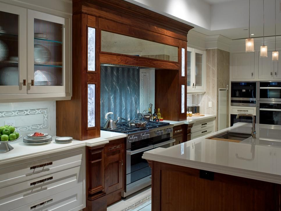 Contemporary White Kitchen With Wood Accents Contemporary