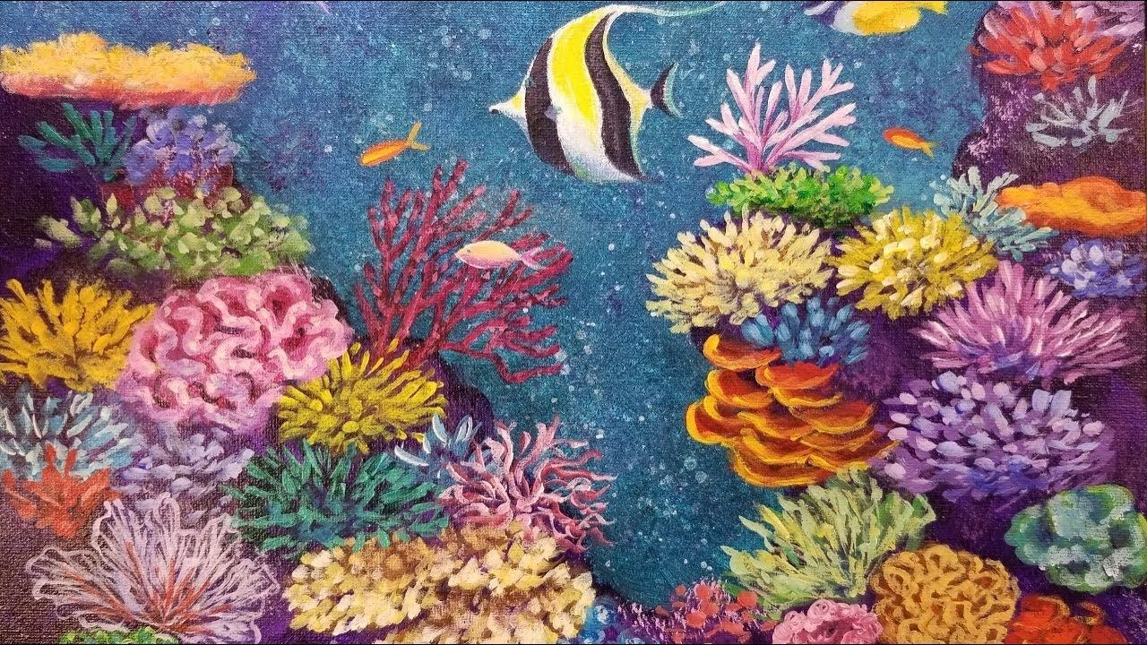 coral reef with tropical fish live acrylic painting tutorial rh pinterest com
