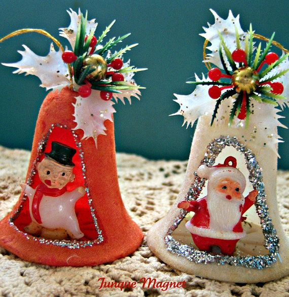 vintage Christmas bells The 1950's used a lot of plastic, a newer product for Christmas ornaments.