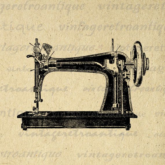 Printable digital antique sewing machine illustration graphic for ...