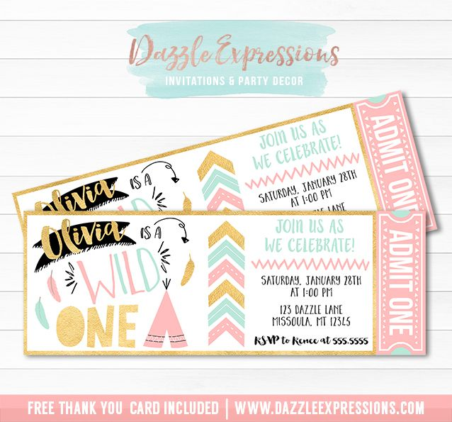 printable wild one ticket birthday invitation | pink, gold and, Wedding invitations