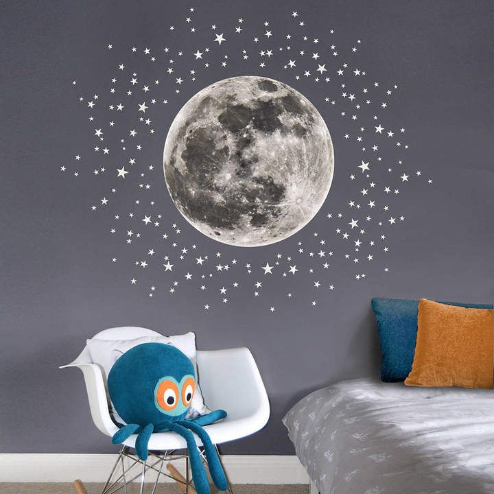 This wall sticker set of a moon plus a myriad of stars will quickly transform childrens rooms and nurseries nursery nurserydecor wallart stickers
