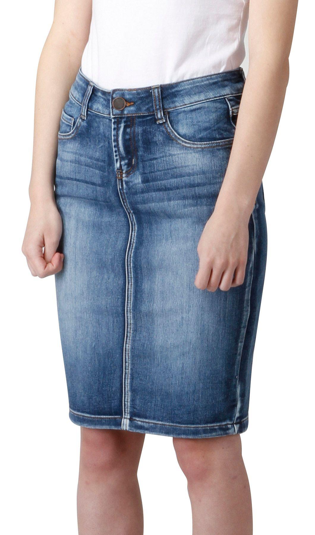b1683f0c81 Knee Length Vintage Wash Denim Skirt (SKIRT95) | Mid Length Denim Skirts | Denim  Skirts