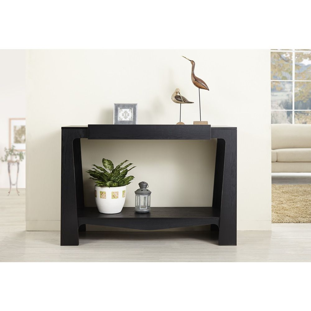 Modern Entry Tables: Urbana Black Modern Hall-Entry Way Console Table