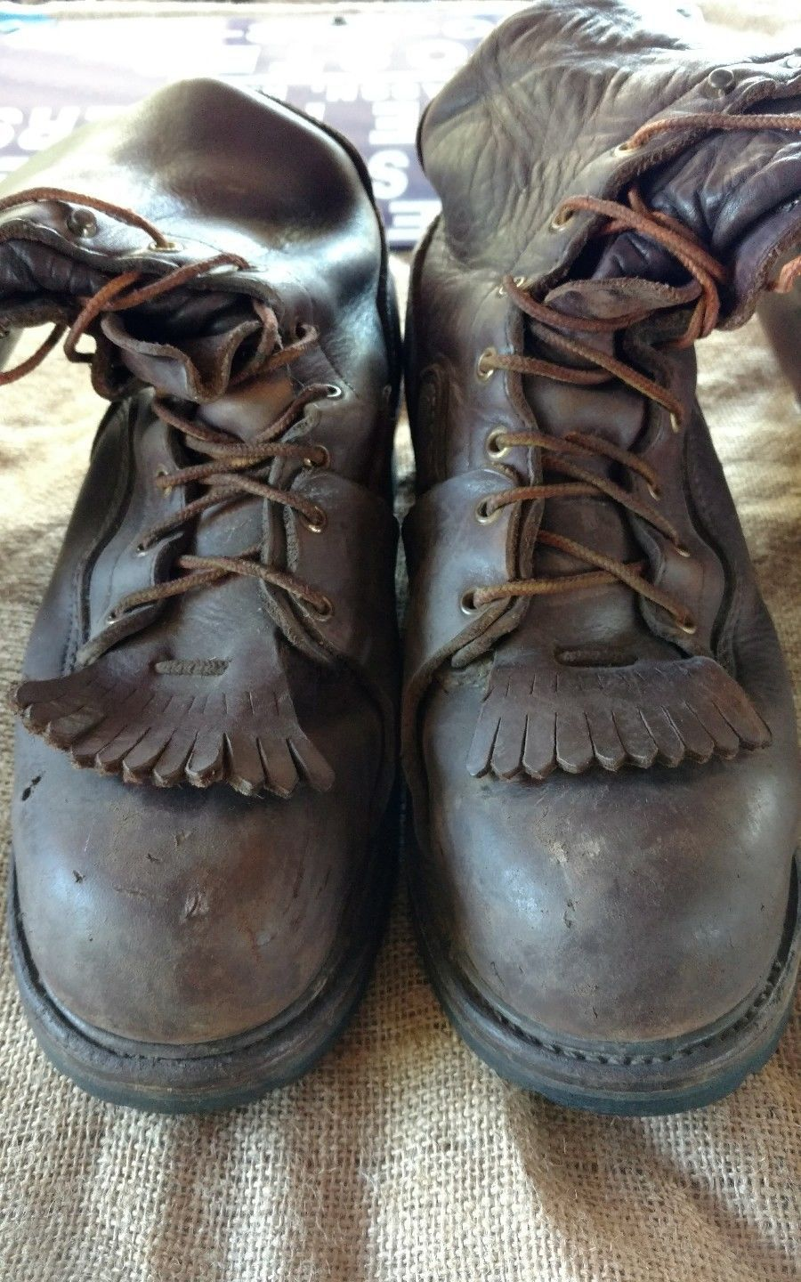 1e28a6ab2e9 Old school Men's Thorogood Linemans Brown leather Boots sz 11 1/2 ...