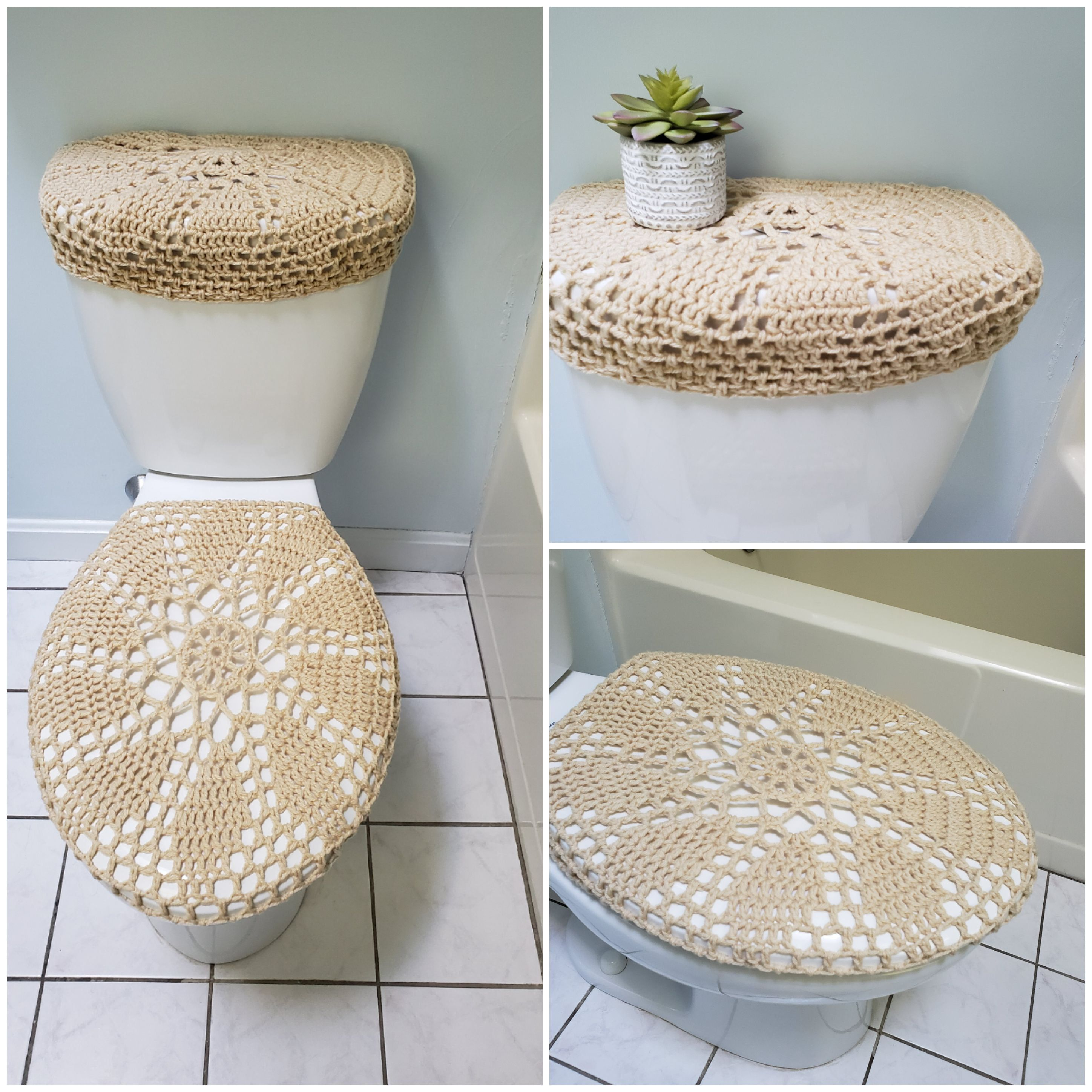 Crochet Toilet Seat Cover Or Tank Lid Cover Oatmeal Tsc28f Or