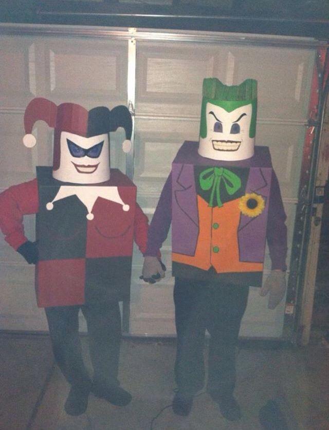 Diy lego joker and lego harley quinn costumes made with moving diy lego joker and lego harley quinn costumes made with moving boxes and 5 gallon solutioingenieria Choice Image