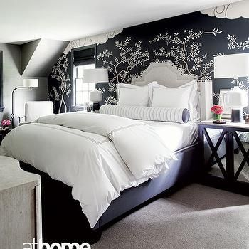 black and white bedroom with gray headboard goodnight my darling rh pinterest co uk