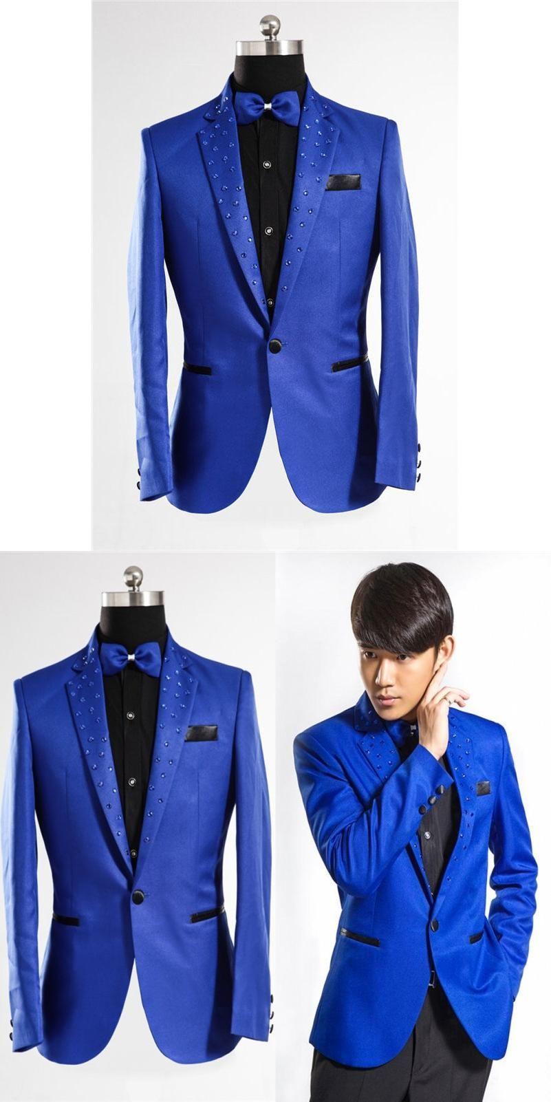 Royal Blue Tuxedo Men fashion 2017 Brand-Clothing Suit Jacket Men Stage  Blazer Costumes Men Suit Jacket Royal Blue Blazer Men b7739ccf4f67