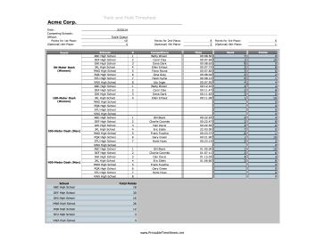Track And Field Timesheet Track Events Printable Time Sheets Free