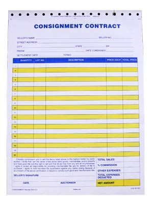 Standard Consignment Form, 2 part (100\/pack) Shop Printables - blank contract forms