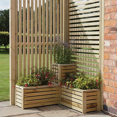 Rowlinson Garden Planter & Screen Corner Set is part of Garden planters, Corner garden, Garden structures, Garden privacy, Planters, Front garden - This product comes direct from a UK manufacturer, during peak season delivery times may be extended due to high demand  Revamp your outdoor area with the Garden Planter and Screen Corner Set from Rowlinson, perfect for that unused nook of the garden! Whether you use it as a partition to separate areas or to create a lovely decorative feature this corner set will work wonderfully in any size garden, big or small  Manufactured from FSC® certified timber in a natural finish allows you the option to paint it in a colour of your choice that compliments your garden beautifully  The horizontal and vertical slats will let just the right amount of natural light through whilst the simple and stylish design would make it a superb addition to any garden or patio  Features and Benefits     Corner set with three planters and two screens     Manufactured from FSC® certified timber     One horizontal and one vertical screen     Planters come preassembled     Planter liners included     Three posts included     Pressure treated to protect against rot     Natural timber finish     Dimensions 104cm (w) x 104cm (d) x 183cm (h)