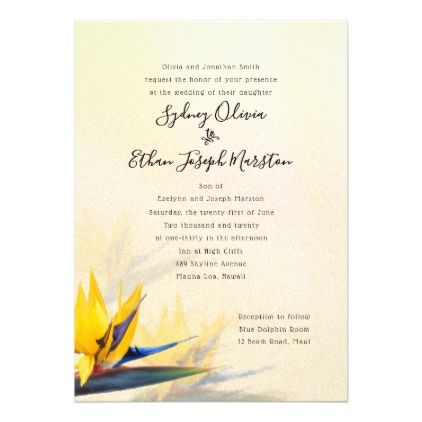 Bird Of Paradise Parents Names Wedding Invitation Zazzle