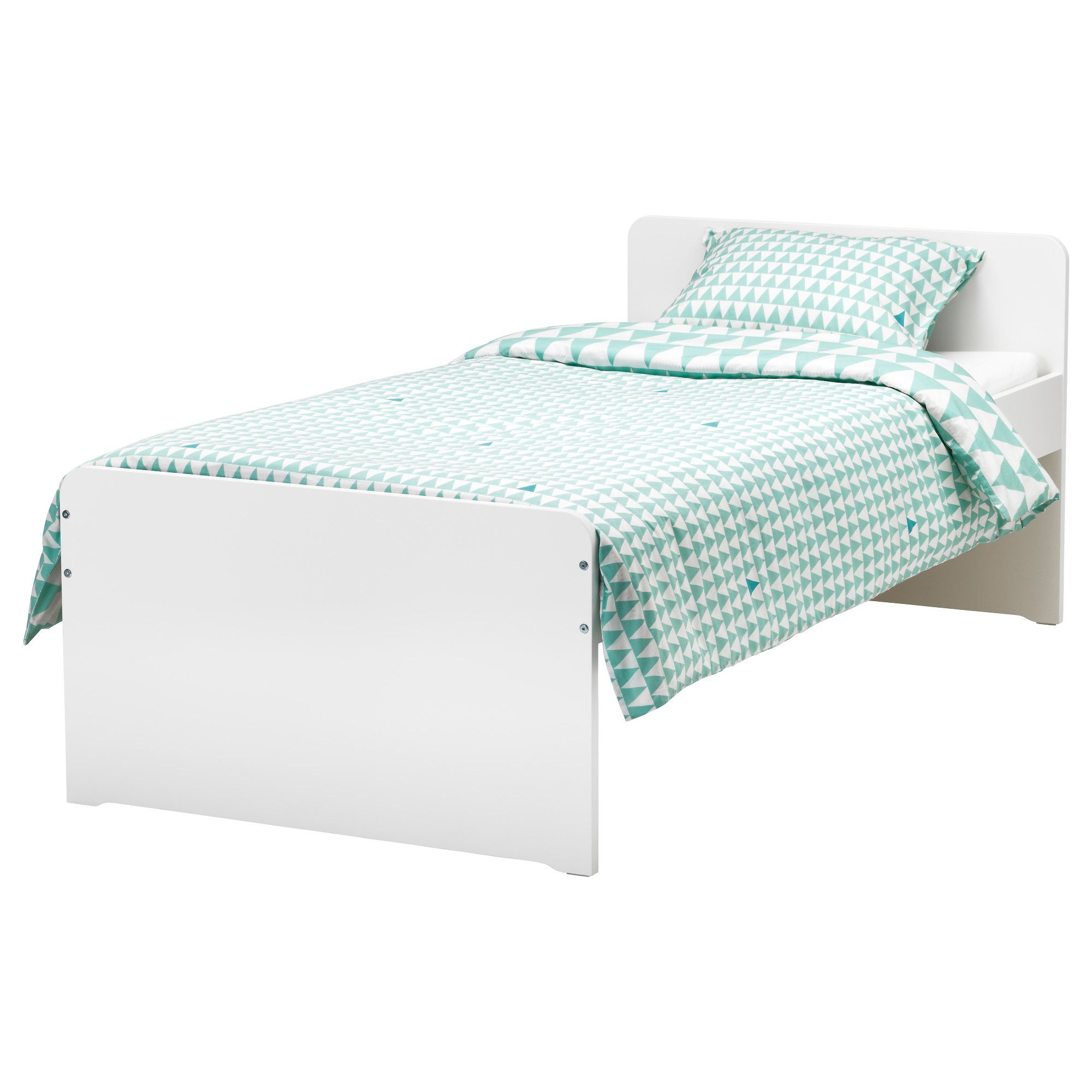 SLÄKT Bed frame with slatted bed base white Twin (With