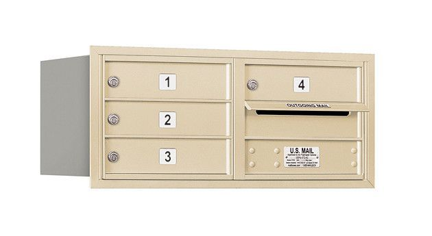 4C Horizontal Mailbox 3 Door High Unit Double Column 4 Doors Rear Loading Private Access
