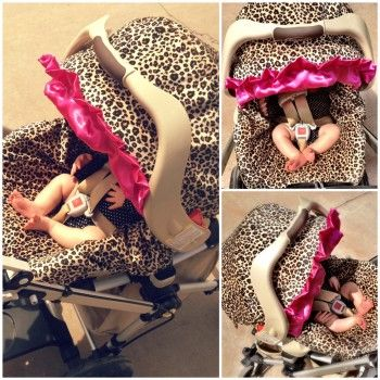 Infant Car Seat Cover for Baby Leopard Print with Raspberry Ruffle « Tot Shot Boutique