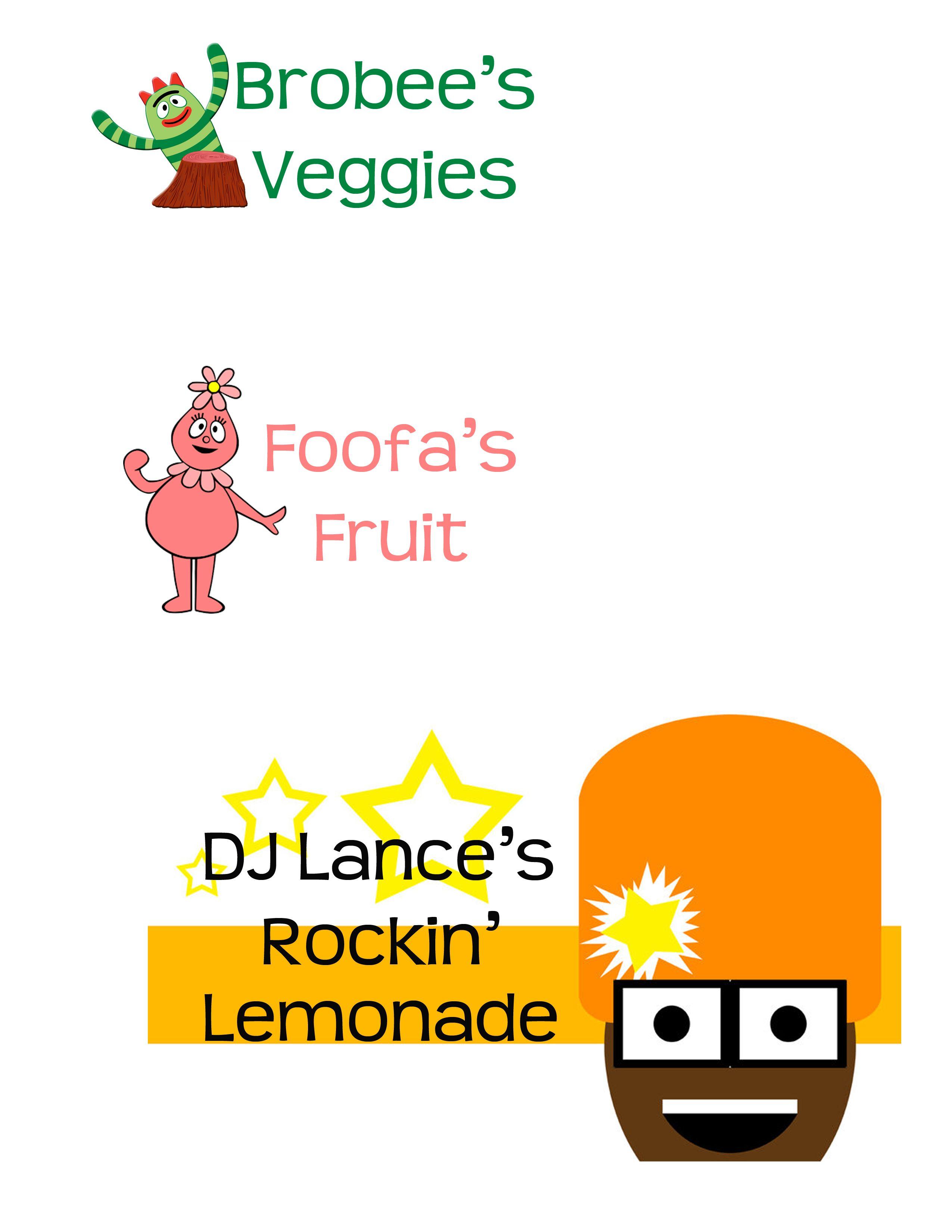 yo gabba gabba food labels | stuff I\'ve made | Pinterest | Yo gabba ...