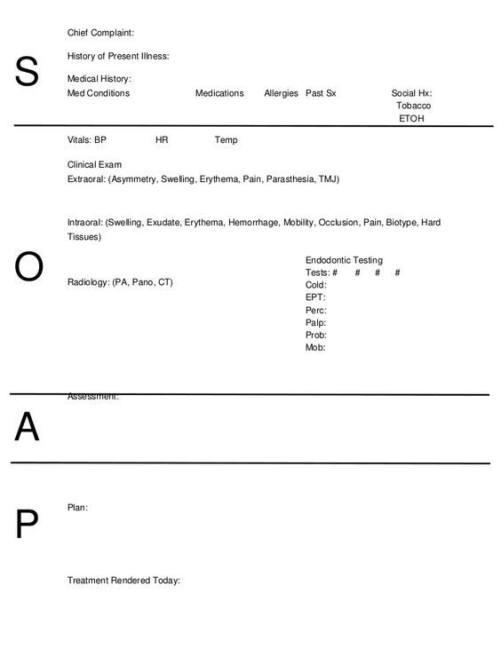 Outpatient Osteopathic SOAP Note Form Preliminary Results in