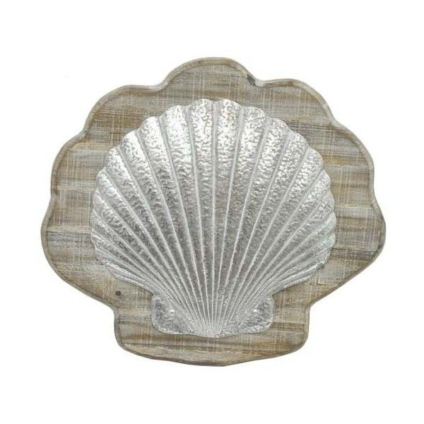 Genial Three Hands Wood Shell Wall Decor   Natural Wood Frames The Textured Metal  Shell Shape Of The Three Hands Wood Shell Wall Decor To Create A  Dimensional ...